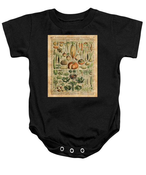 Autumn Fall Vegetables Kiche Harvest Thanksgiving Dictionary Art Vintage Cottage Chic Baby Onesie