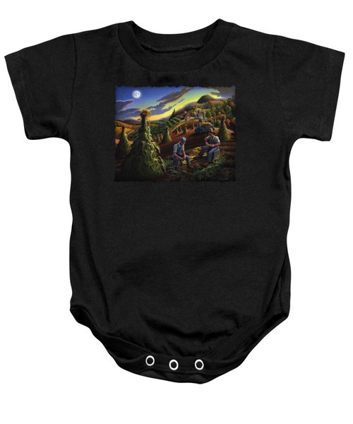Autumn Farmers Shucking Corn Appalachian Rural Farm Country Harvesting Landscape - Harvest Folk Art Baby Onesie by Walt Curlee