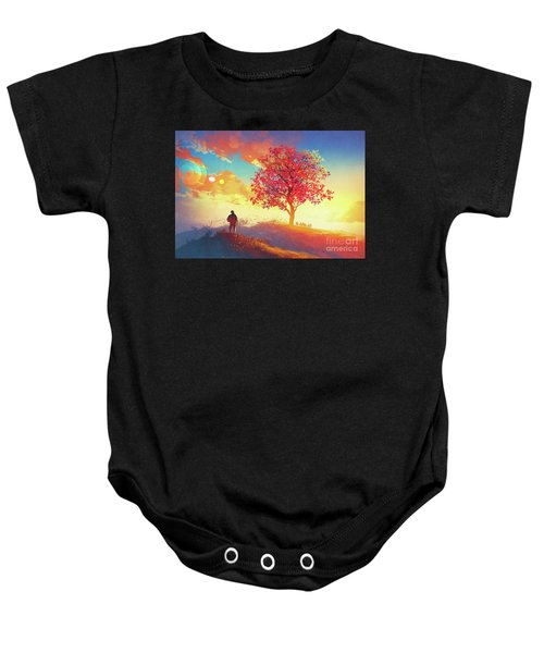 Baby Onesie featuring the painting Autumn Sunrise by Tithi Luadthong