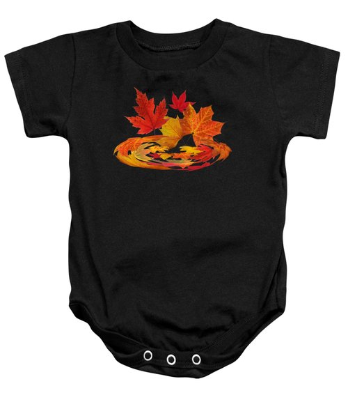 Autumn Winds - Colorful Leaves On Black Baby Onesie