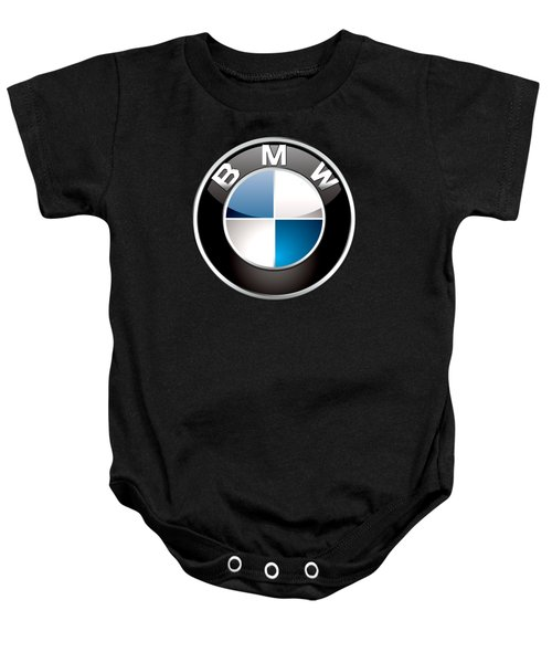 B M W  3 D Badge On Black Baby Onesie by Serge Averbukh