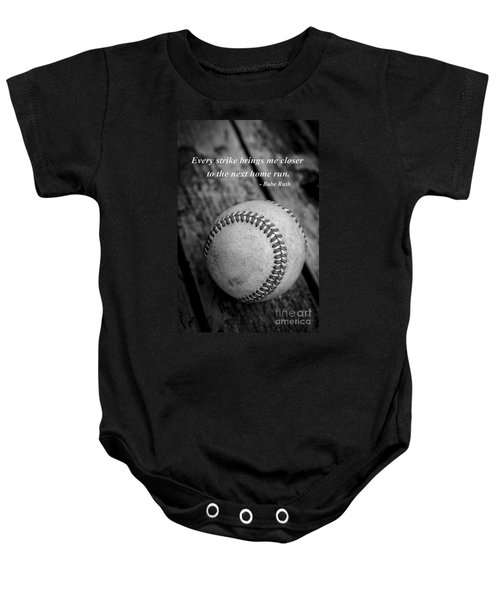 Babe Ruth Baseball Quote Baby Onesie by Edward Fielding