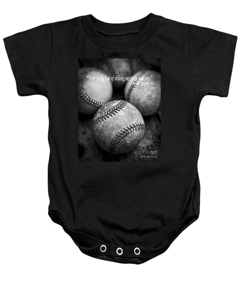 Babe Ruth Quote Baby Onesie by Edward Fielding