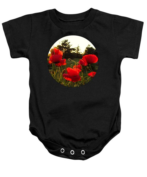 Backlit Red Poppies Baby Onesie