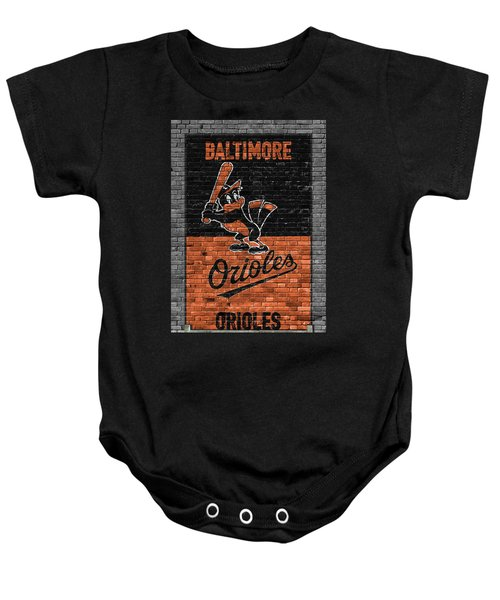 Baltimore Orioles Brick Wall Baby Onesie