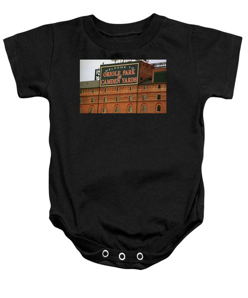 Baby Onesie featuring the photograph Baltimore Orioles Park At Camden Yards by Frank Romeo