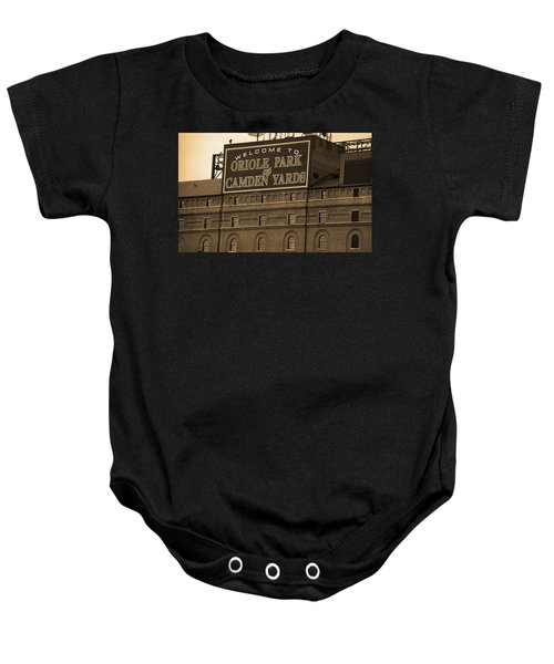Baby Onesie featuring the photograph Baltimore Orioles Park At Camden Yards Sepia by Frank Romeo