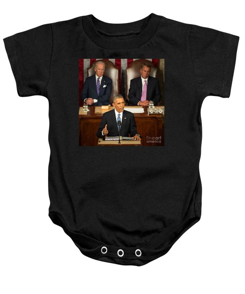 Barack Obama 2015 Sotu Address Baby Onesie by Science Source