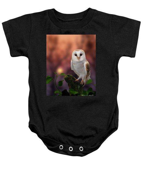 Barn Owl At Sunset Baby Onesie