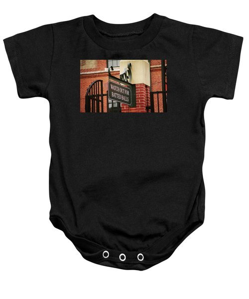 Baby Onesie featuring the photograph Baseball Warning by Frank Romeo