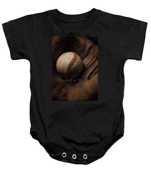 Baseball Yogi Berra Quote Baby Onesie by Heather Applegate