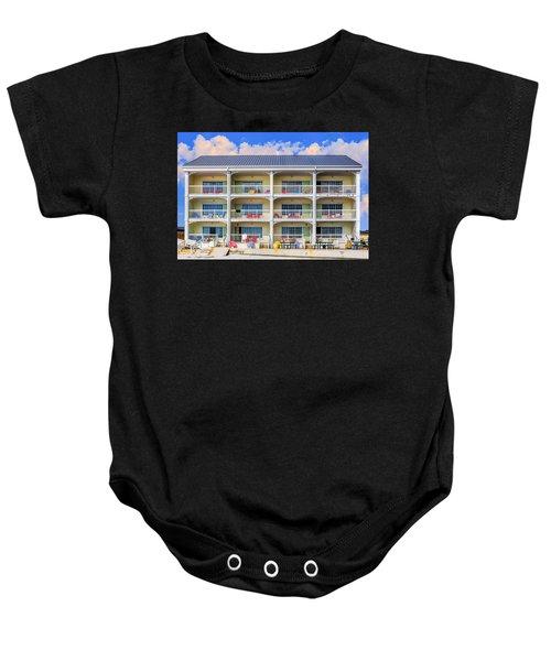 Beach Front Hotel Baby Onesie