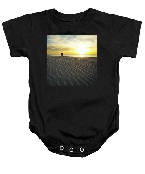 Beach Silhouettes And Sand Ripples At Sunset Baby Onesie