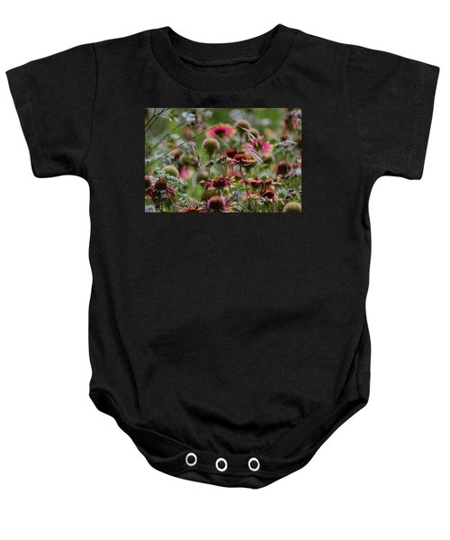 Beautiful Purple And Yellow Wildflowers Baby Onesie