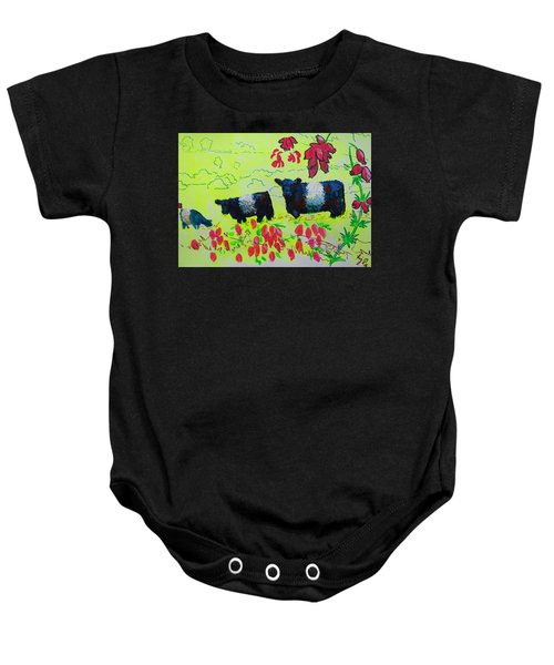 Belted Galloway Cows And Heather Illustration Baby Onesie