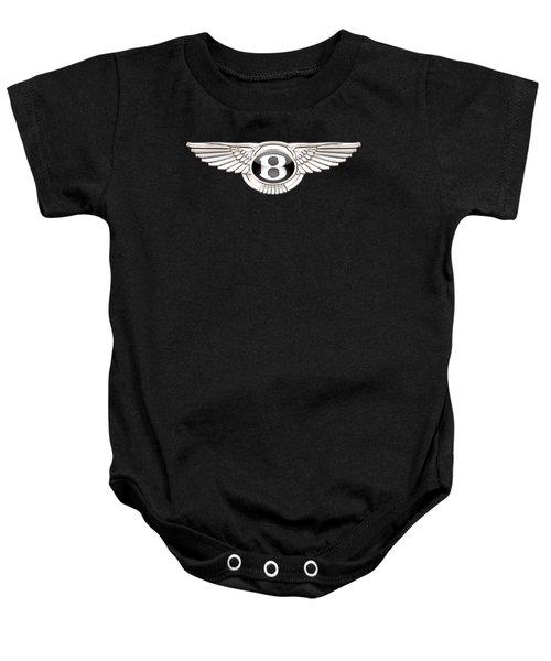 Bentley - 3 D Badge On Black Baby Onesie by Serge Averbukh