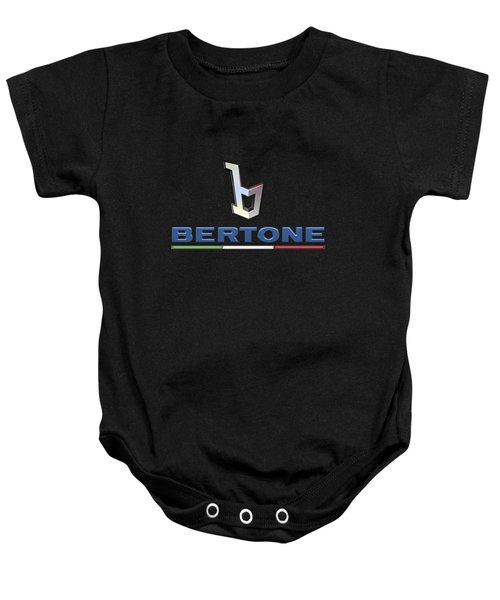 Bertone - 3 D Badge On Black Baby Onesie by Serge Averbukh
