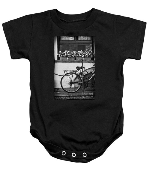 Bicycle With Flowers Baby Onesie by Silvia Ganora