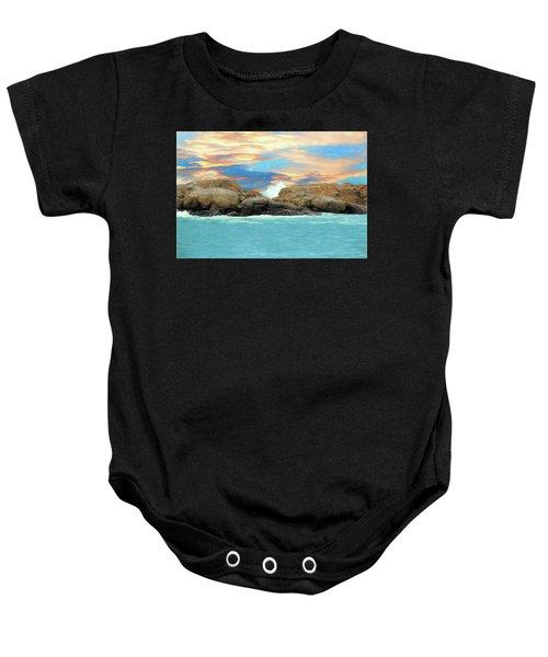 Birds On Ocean Rocks Baby Onesie