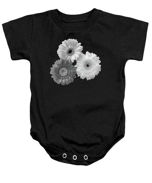 Black And White Gerbera Daisies Baby Onesie