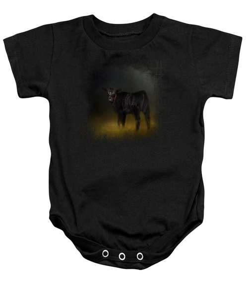 Black Angus Calf In The Moonlight Baby Onesie by Jai Johnson