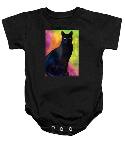 Black Cat 9 Watercolor Painting Baby Onesie