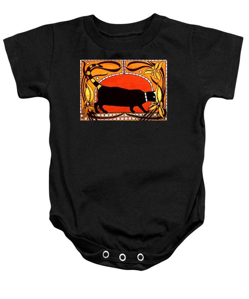 Baby Onesie featuring the painting Black Cat With Floral Motif Of Art Nouveau By Dora Hathazi Mendes by Dora Hathazi Mendes
