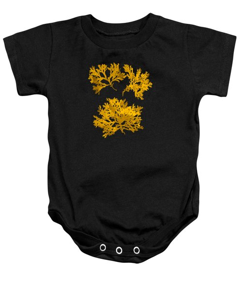 Baby Onesie featuring the mixed media Black Gold Leaf Pattern by Christina Rollo
