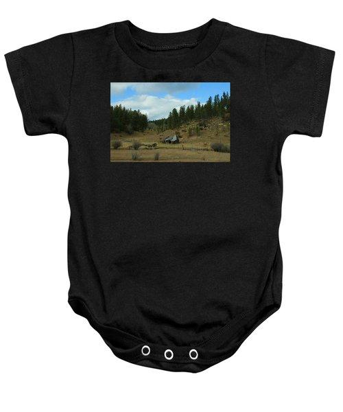 Black Hills Broken Down Cabin Baby Onesie