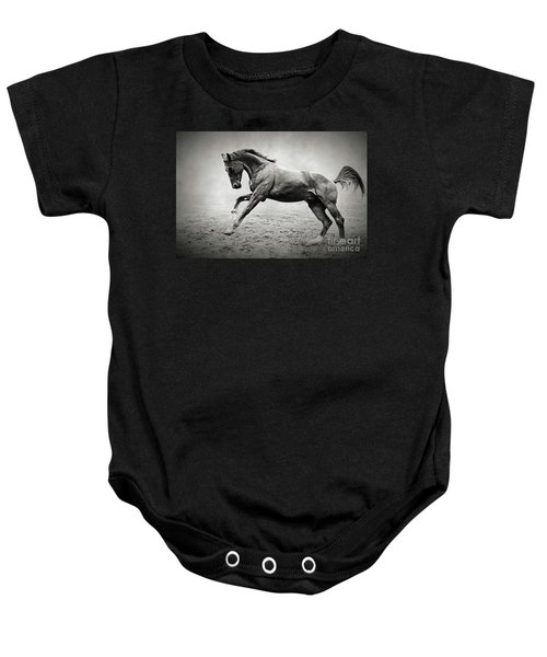 Black Horse In Dust Baby Onesie