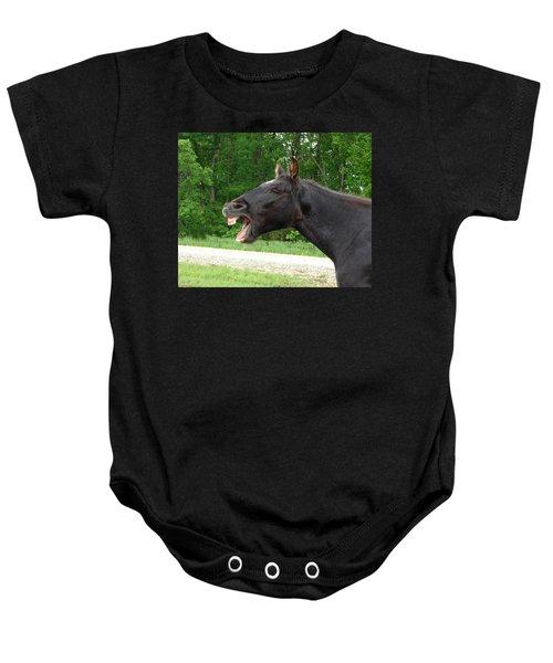 Black Horse Laughs Baby Onesie