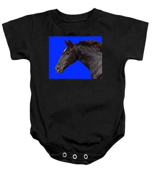 Black Horse Spirit Blue Baby Onesie