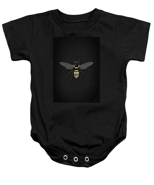 Black Wasp With Gold Accents On Black  Baby Onesie by Serge Averbukh