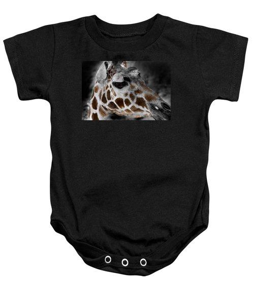 Black  White And Color Giraffe Baby Onesie