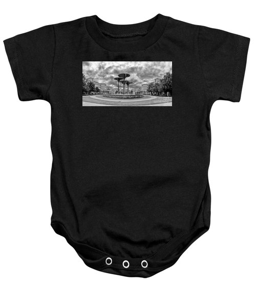 Black White Panorama Of Texas Christian University Campus Commons And Frog Fountain - Fort Worth  Baby Onesie