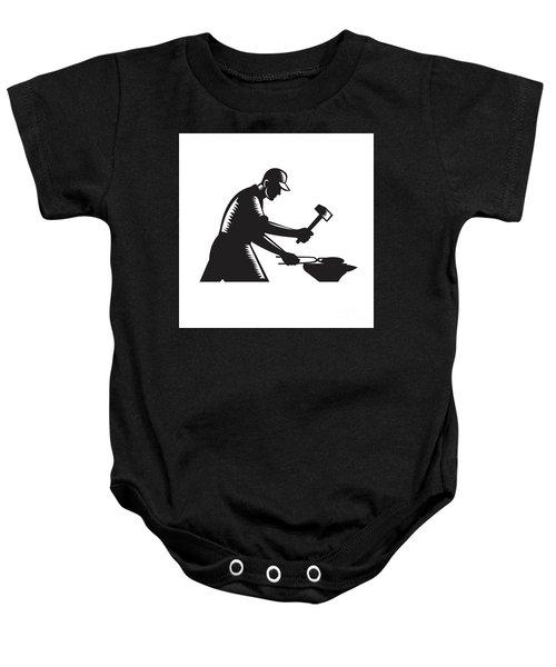 Blacksmith Worker Forging Iron Black And White Woodcut Baby Onesie