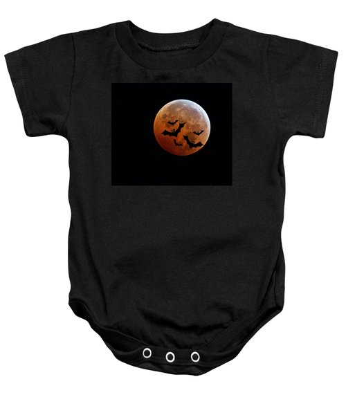 Blood Full Moon And Bats Baby Onesie