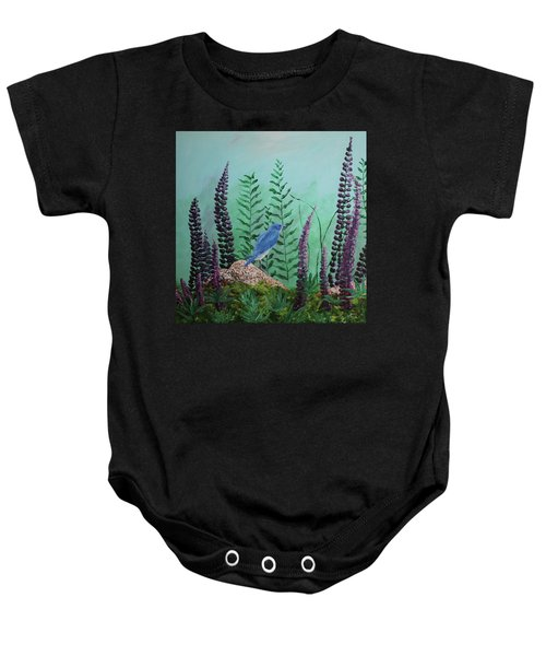 Blue Chickadee Standing On A Rock 1 Baby Onesie