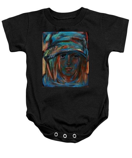 Blue Faced Girl Baby Onesie
