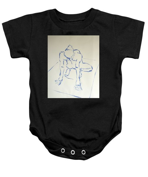 Blue Line Painting Of A Male Nude Kneeling On His Heels And Resting On Hands Which Are Behind Him Baby Onesie