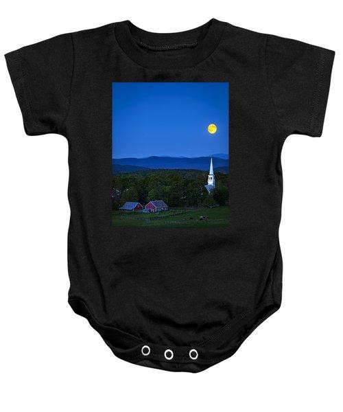 Blue Moon Rising Over Church Steeple Baby Onesie