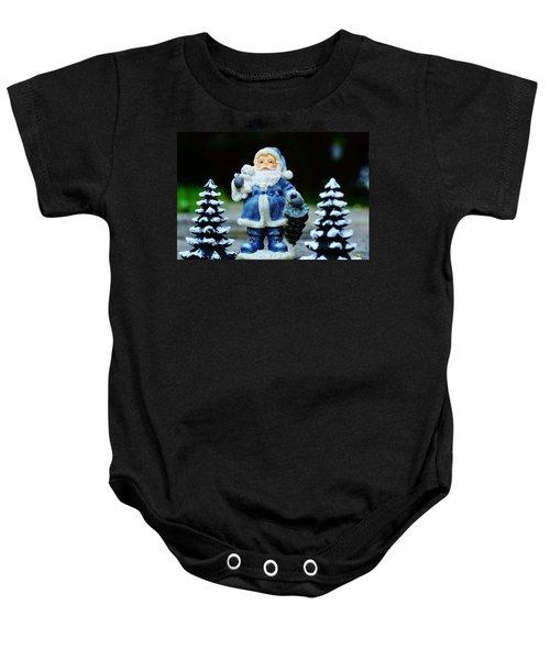Blue Santa Christmas Card Baby Onesie by Bellesouth Studio
