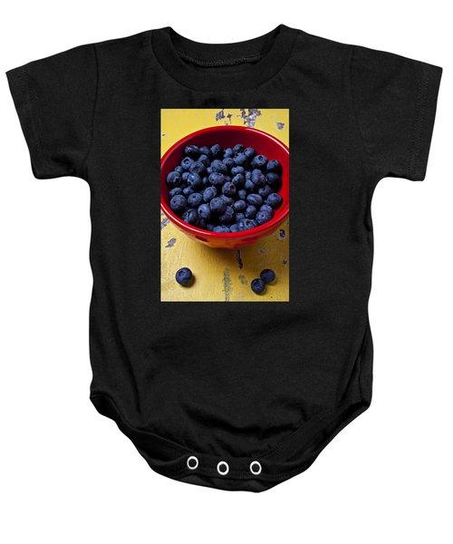 Blueberries In Red Bowl Baby Onesie