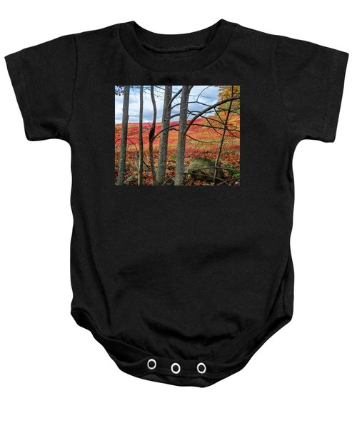 Blueberry Field Through The Wall - Cropped Baby Onesie