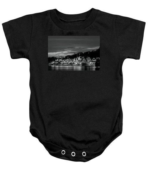 Boathouse Row Philadelphia Pa Night Black And White Baby Onesie