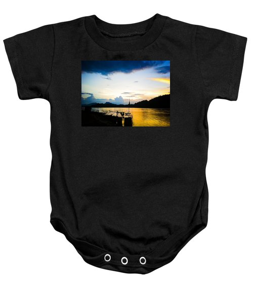 Boats In The Mekong River, Luang Prabang At Sunset Baby Onesie
