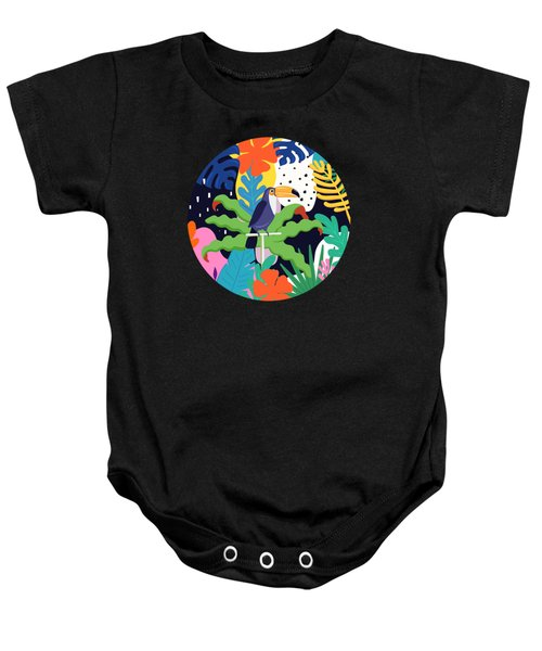 Bold Tropical Jungle Abstraction With Toucan Memphis Style Baby Onesie