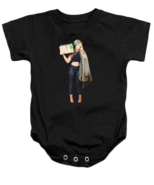 Bombshell Blond Pinup Woman In Dangerous Style Baby Onesie