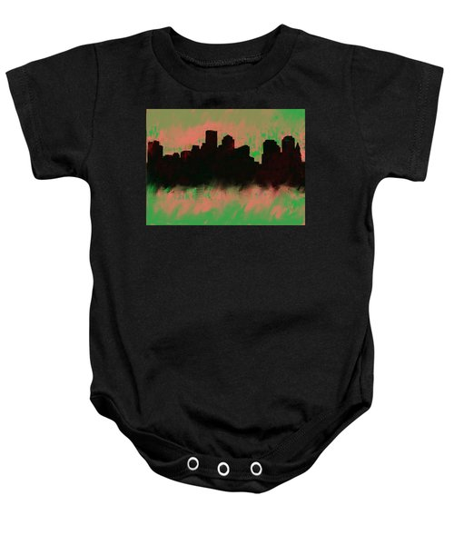 Boston Skyline Green  Baby Onesie by Enki Art