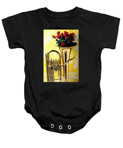 Brass Tuba With Red Roses Baby Onesie